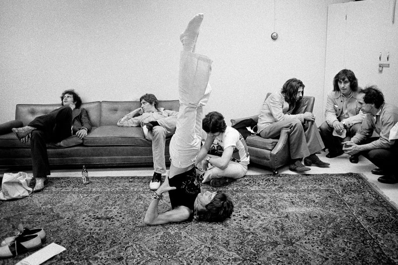 MIck Jagger in Shoulderstand by JIm Marshall